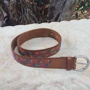 Fossil leather embroidered belt
